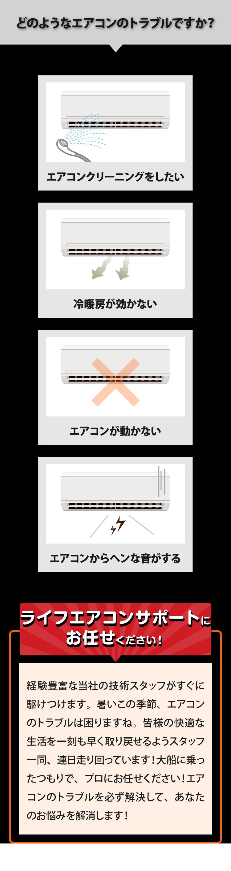 大阪のエアコン修理クリーニングをしたい、冷暖房が効かない、エアコンが動かない、エアコンの音がおかしい、すべてライフエアコンサポートにお任せください!