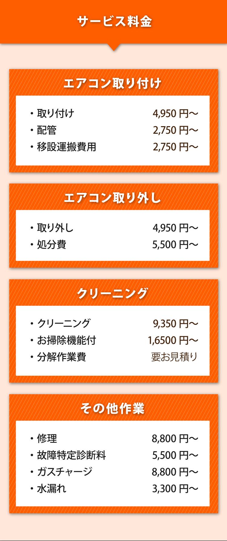 エアコン修理、水漏れも対応可能。エアコンクリーニング9500円~、エアコン取り付け4500円~、エアコン取り外し4500円~、エアコン処分費5000円~